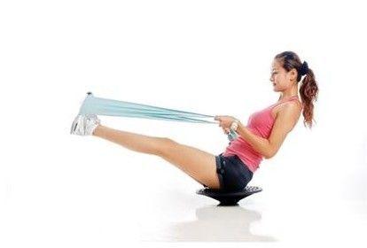 平衡板+弹力绳腹部练习